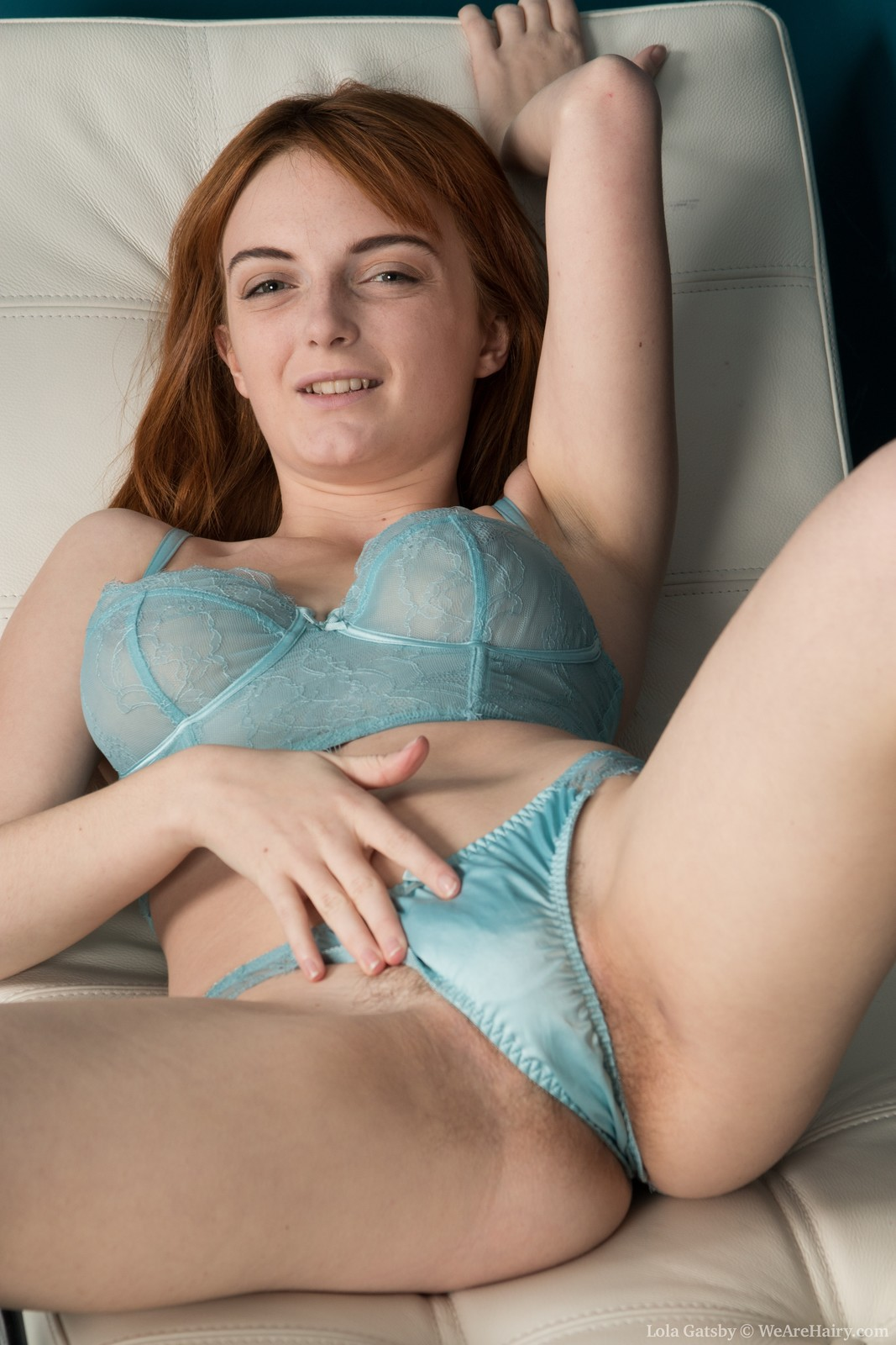 Sexy English girl Lola Gatsby touching hairy pussy