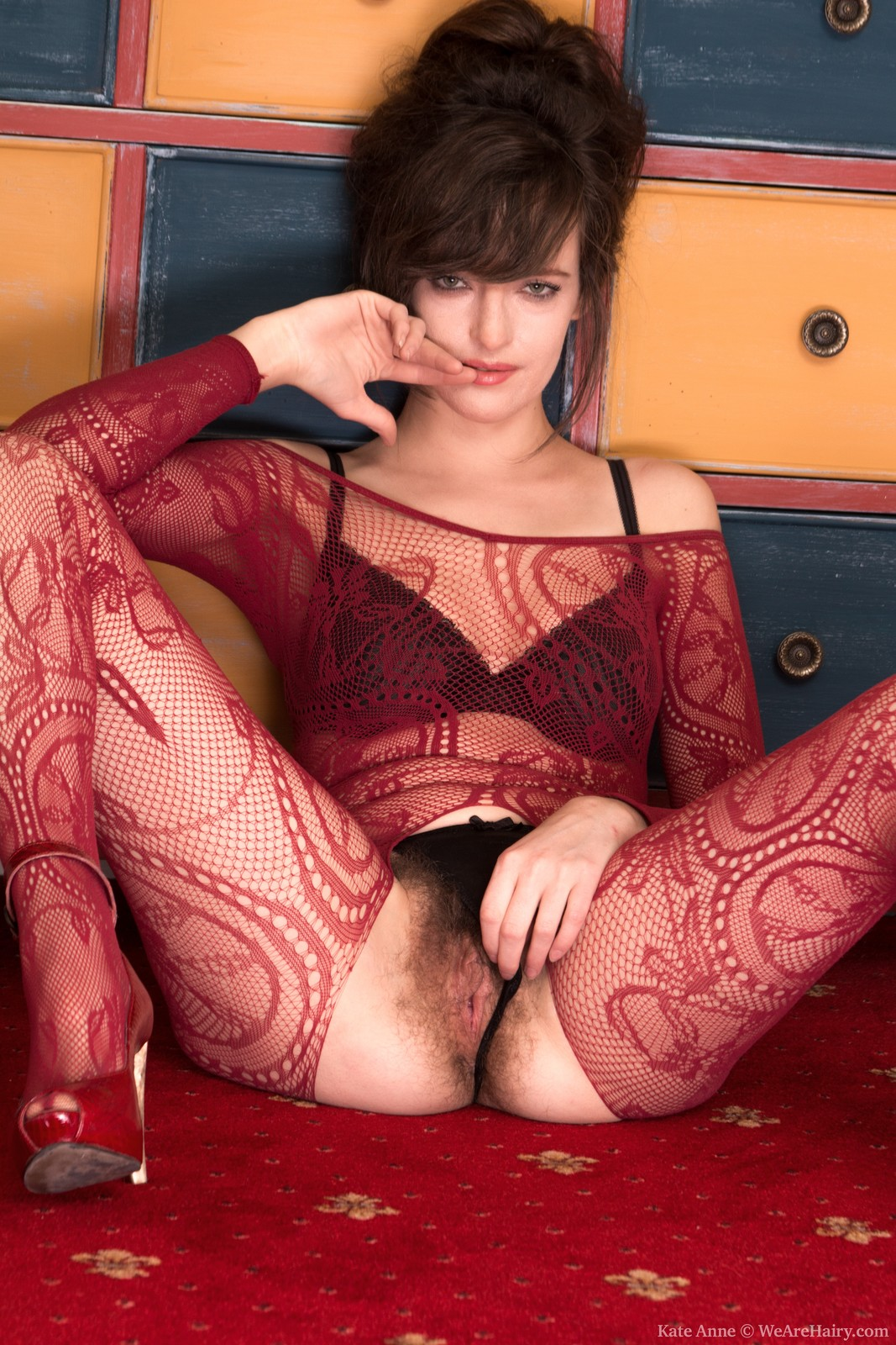 Hairy babe Kate Anne shocking her body stocking and lingerie