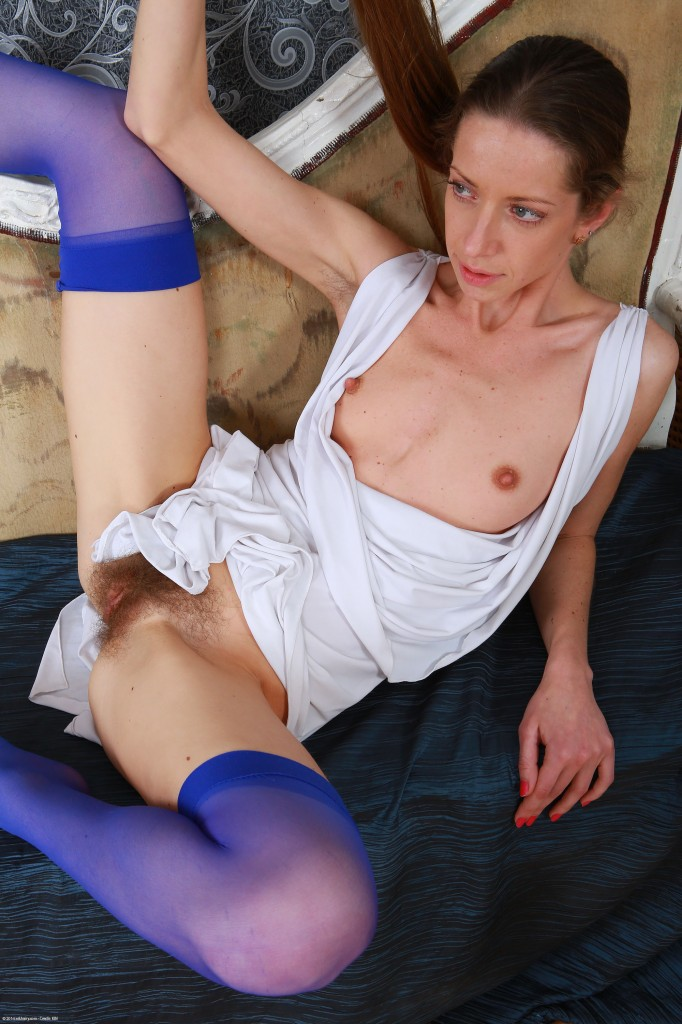 Hairy skinny girl MIka in sexy Stockings