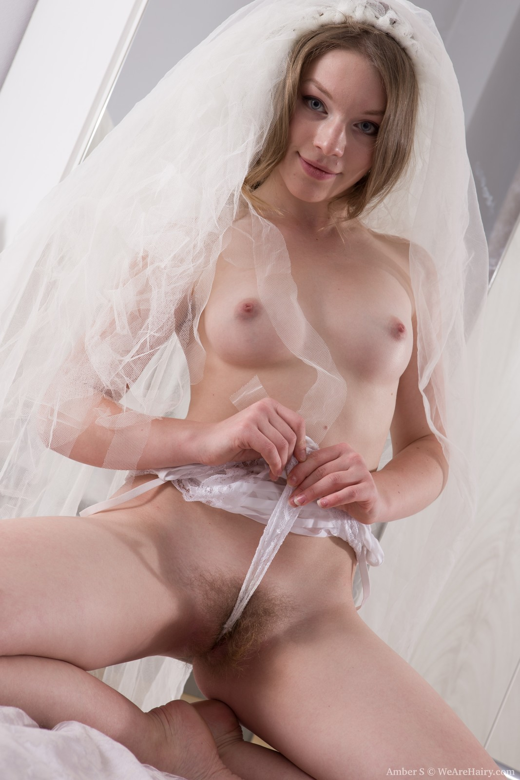 bride pussy Excellent bride in her wedding dress plays with hairy pussy