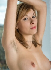 Blonde with hairy armpits and pussy