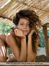 Naturally beautiful brunette posing naked