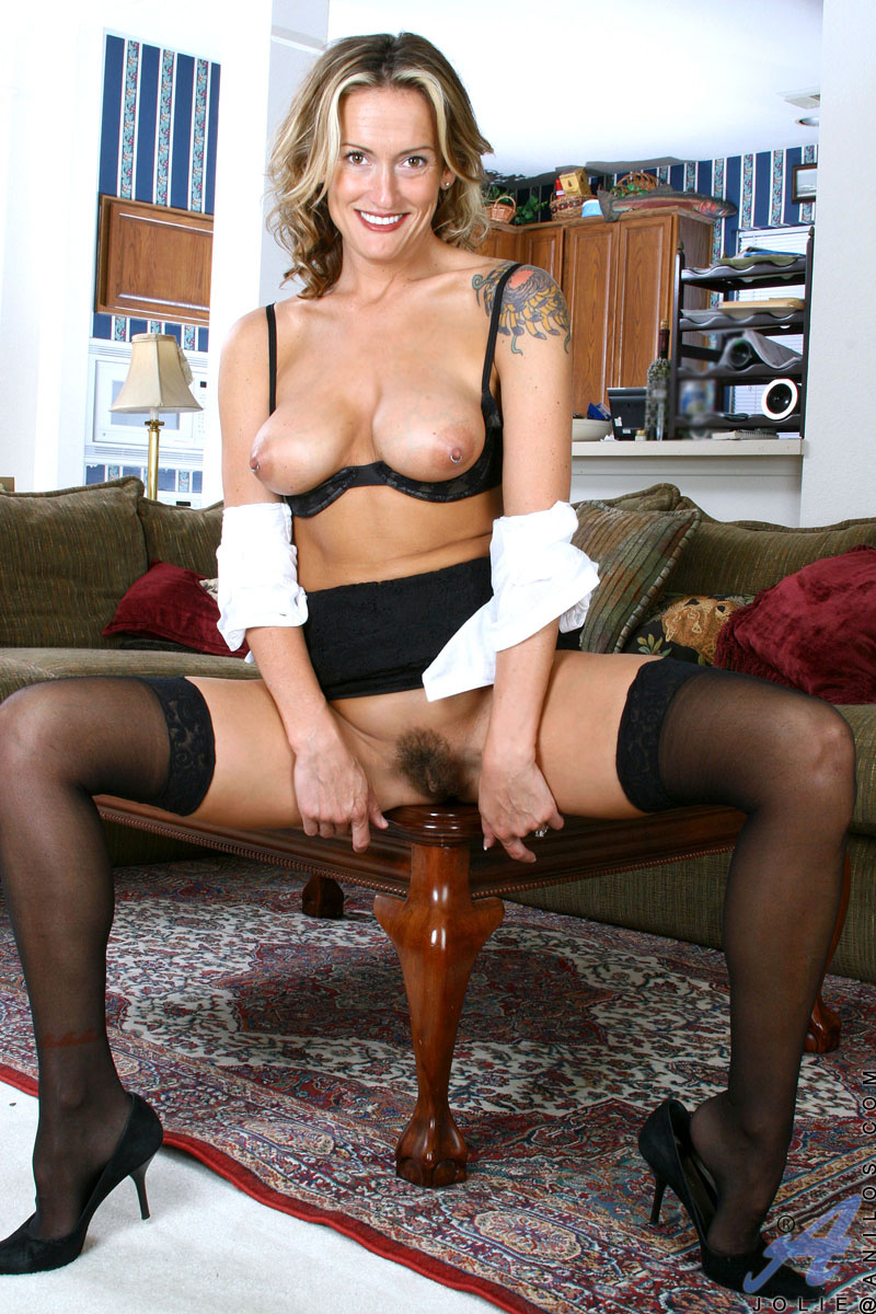 Hairy secretary pantyhose