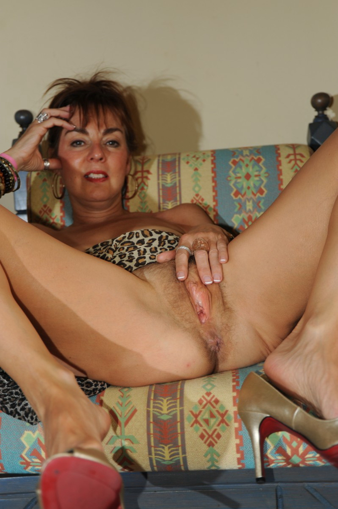 Granny spreads hairy pussy precisely does