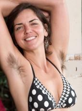 Hairy girl Katie Z bikini striptease