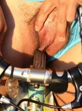Biker girl masturbating outdoors
