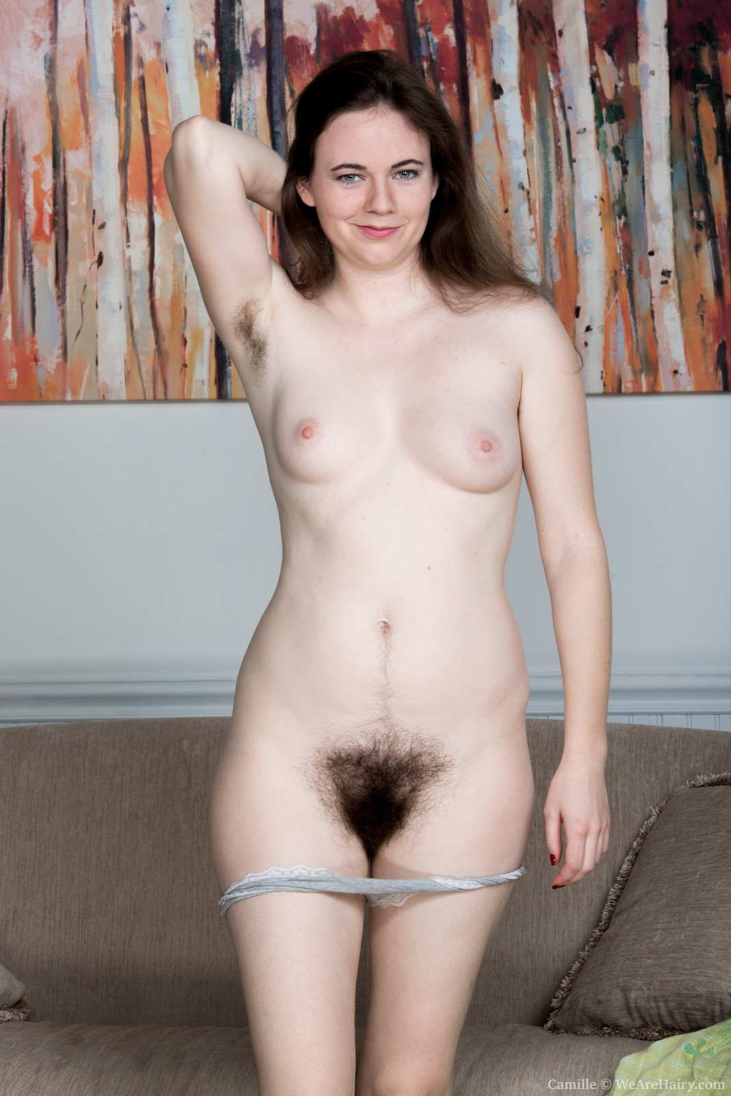 Hairy female model nude