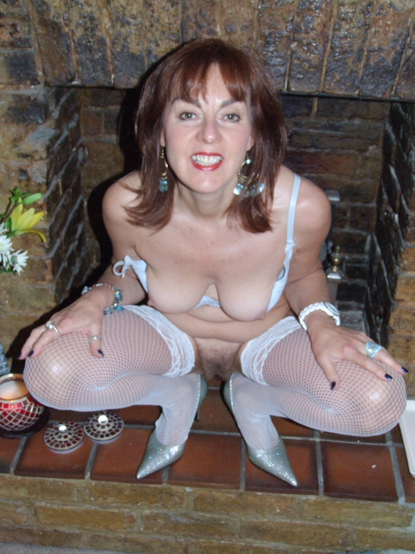 Hairy mom stockings stripteas