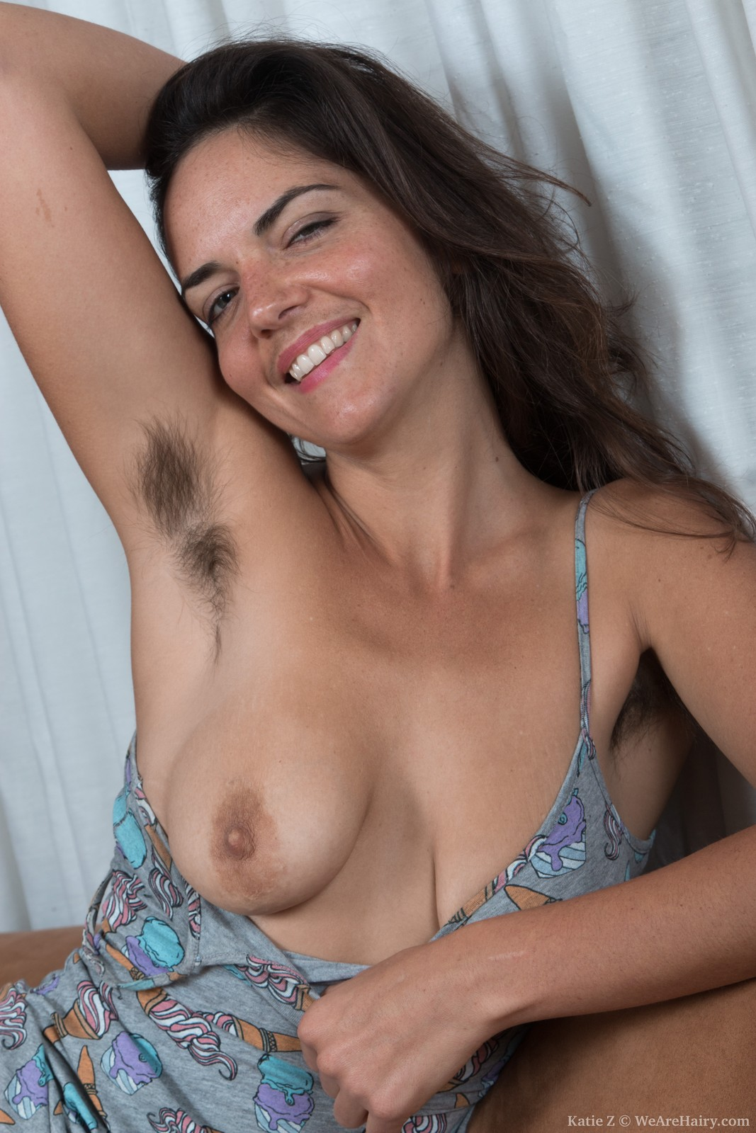 Busty and hairy MILF Katie Z