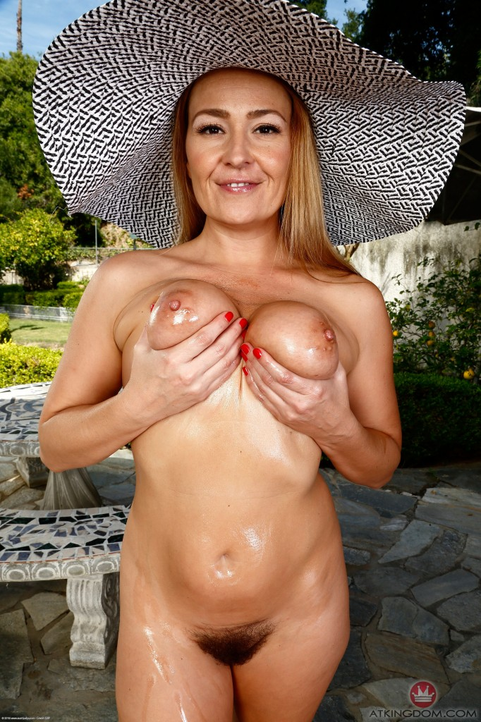 Busty mature outdoor