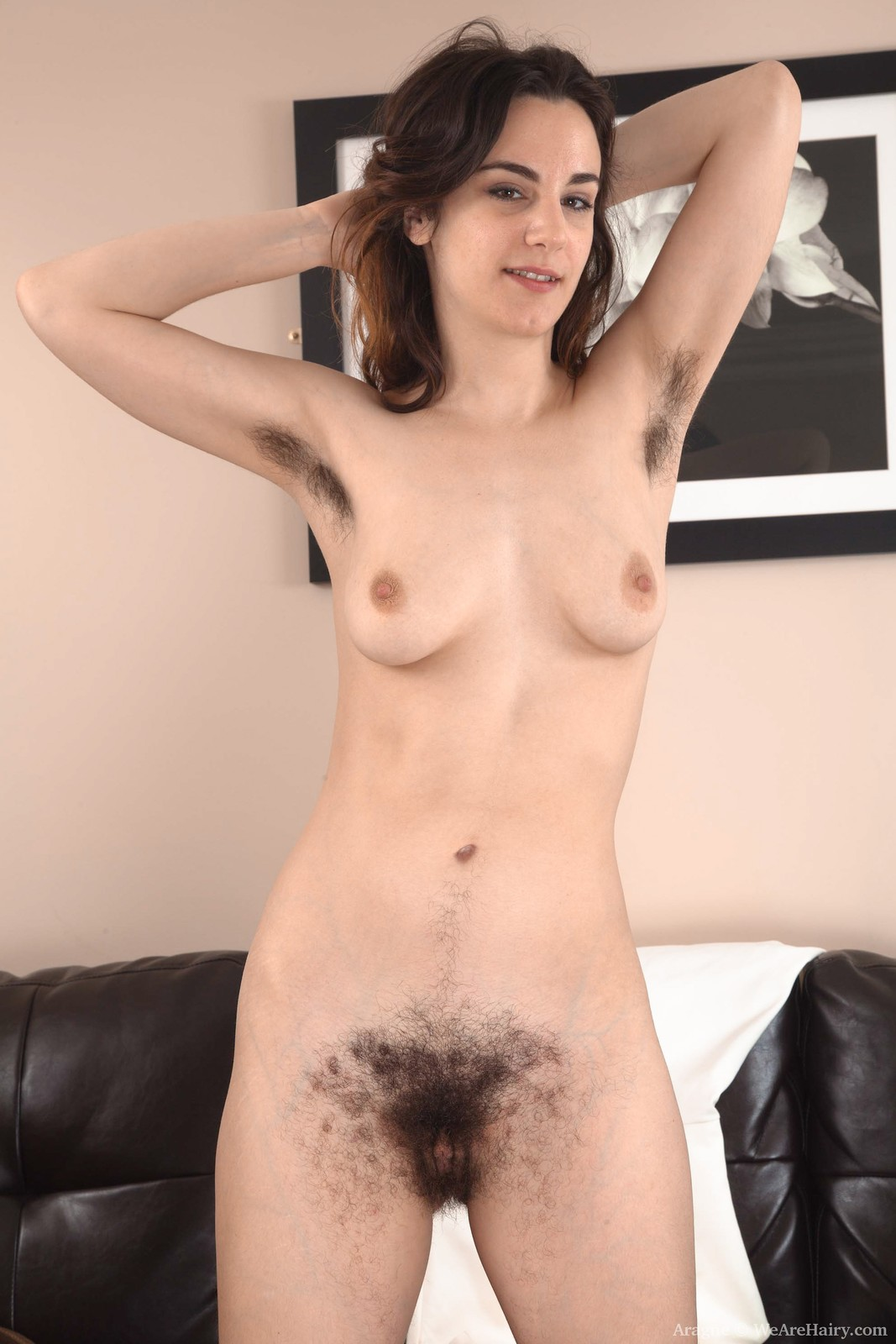 Aragne strips off her sexy white dress | The Hairy Lady Blog