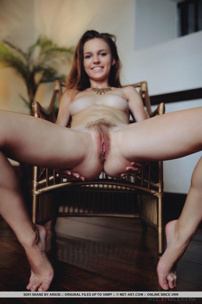 Sofi Shane exposing hairy pussy