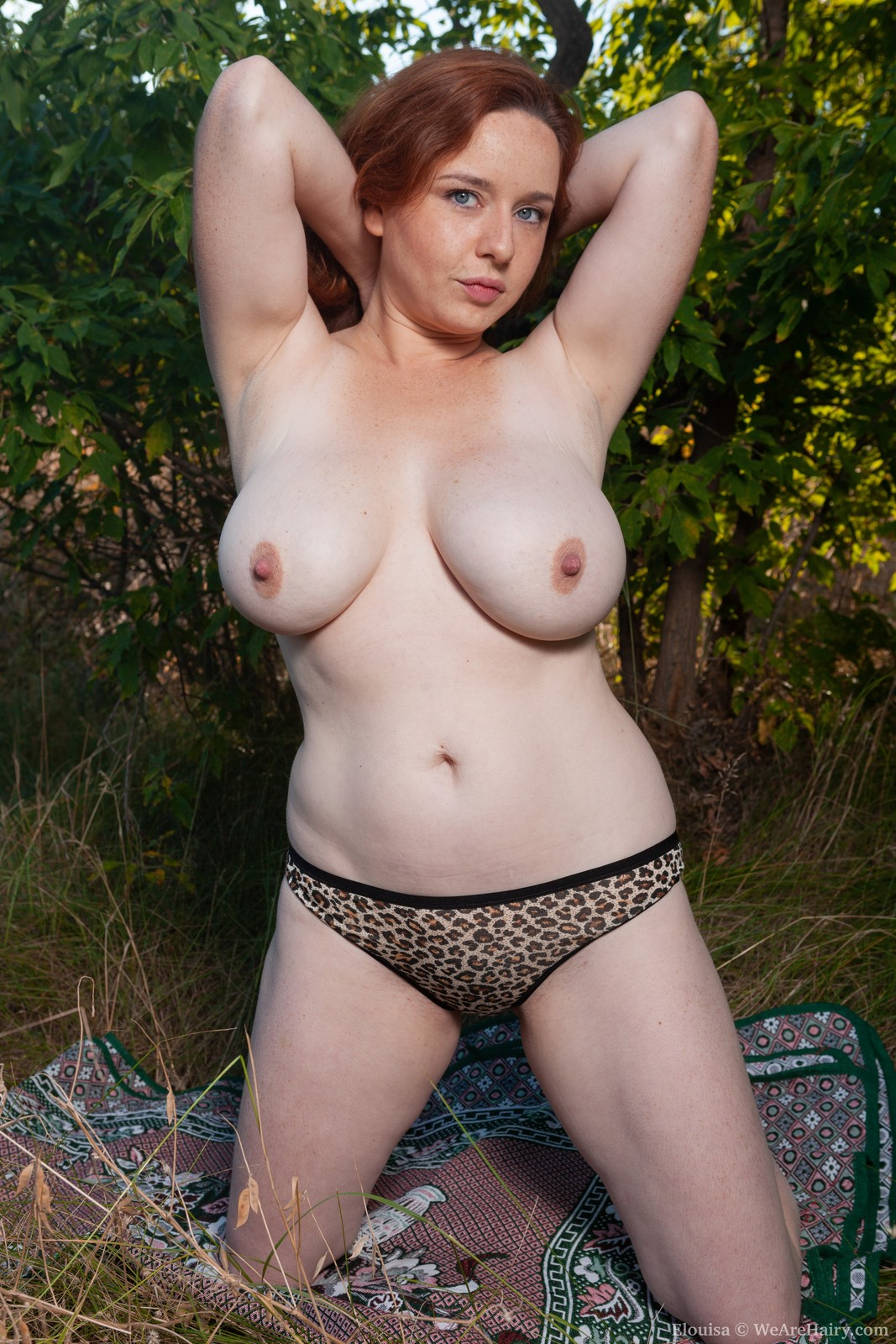 Busty and hairy Elouisa Bush