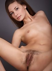 Hairy pussy girl with small breasts