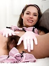 Young Russian girl spreads hairy bush