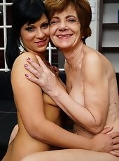 Hairy old and young lesbians