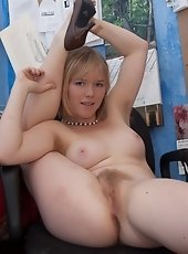 Kinky Charlie spreads her pink pussy lips